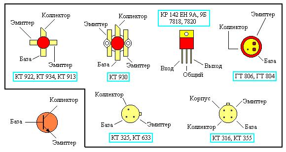 Схема расположения эмиттера, коллектора, и базы в разных типах корпусов транзисторов.  Итак решил выложить кое что из...